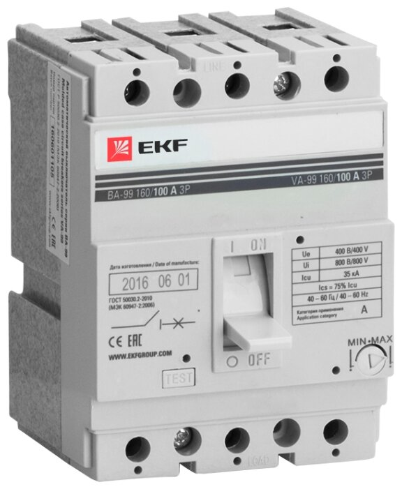Автоматический выключатель EKF ВА-99/160 3P (термомагнитный) 35kA