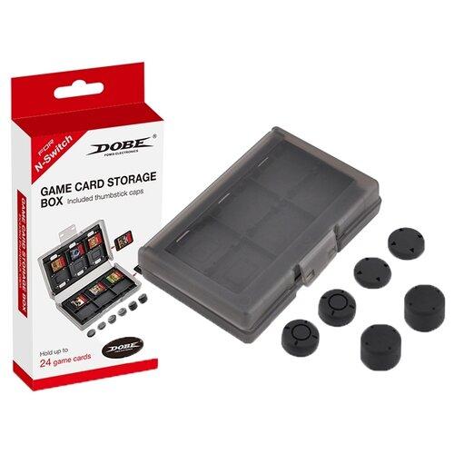 Dobe Футляр для 24 картриджей + сменные накладки на стики для консоли Nintendo Switch (TNS-1844) черный