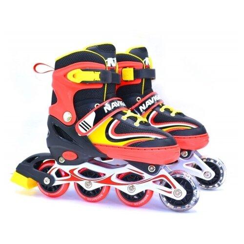 Фото - Раздвижные роликовые коньки Navigator колеса ПВХ, со светом р. 30 – 33 navigator скейт navigator пластиковый светящиеся колеса в ассорт
