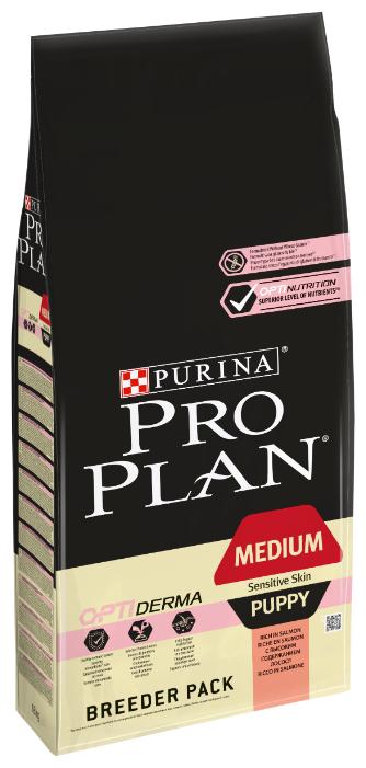 Корм для щенков Purina Pro Plan Optiderma для здоровья кожи и шерсти, лосось с рисом 18 кг (для средних пород)