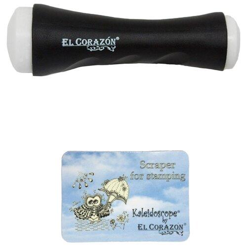 Набор EL Corazon №1 двусторонний штамп XL и скрапер черный  - Купить