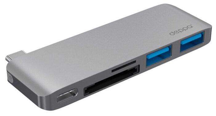 Переходник Deppa USB Type-C - USB, 5 в1, графит