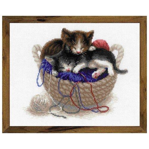 Риолис Набор для вышивания 1724 Котята в корзине , Наборы для вышивания  - купить со скидкой