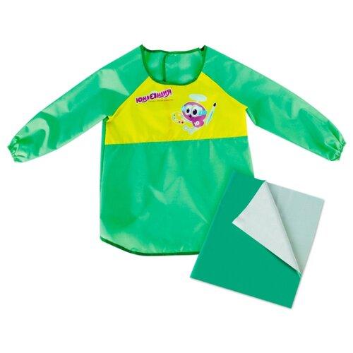 Юнландия фартук-накидка с рукавами + клеенка ПВХ 40x69 см зеленый недорого