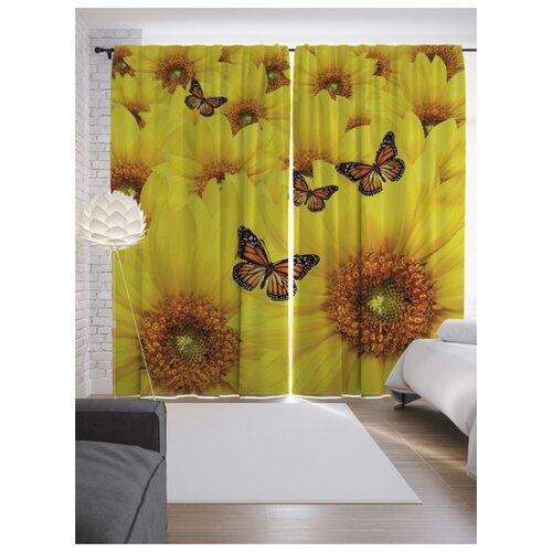 Портьеры JoyArty Бабочки на цветах на ленте 265 см (p-9861)