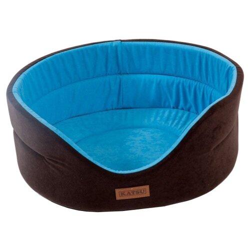Лежак для собак Katsu Suedine M 52х46х19 см коричневый/голубой