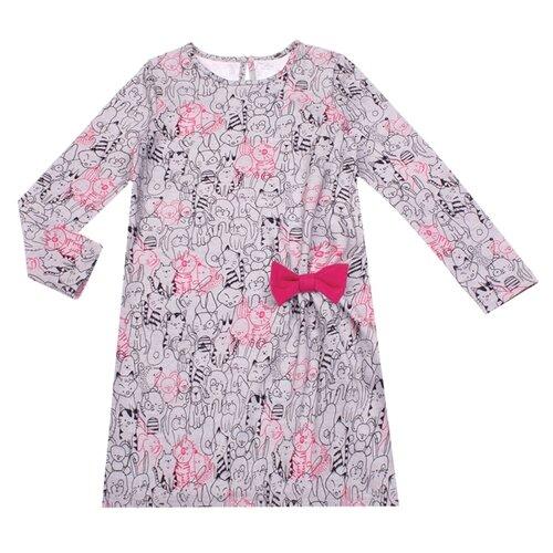 Купить Платье Апрель Ласковый котенок Зверушки размер 92-50, светло-серый/ярко-розовый, Платья и юбки