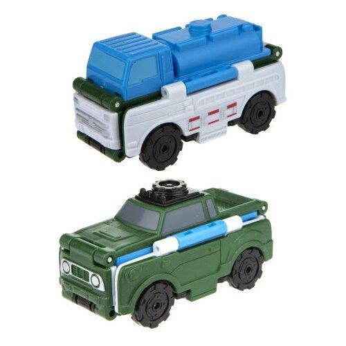 Купить Машинка 1 TOY Transcar Double 2 в 1: Автоцистерна/Внедорожник (Т18285) 8 см синий/зеленый/белый, Машинки и техника