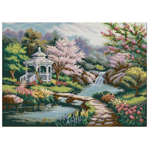 Купить Беседка в саду (рис. на сатене 29х39) 29х39 Конек 1239, Конёк, Канва
