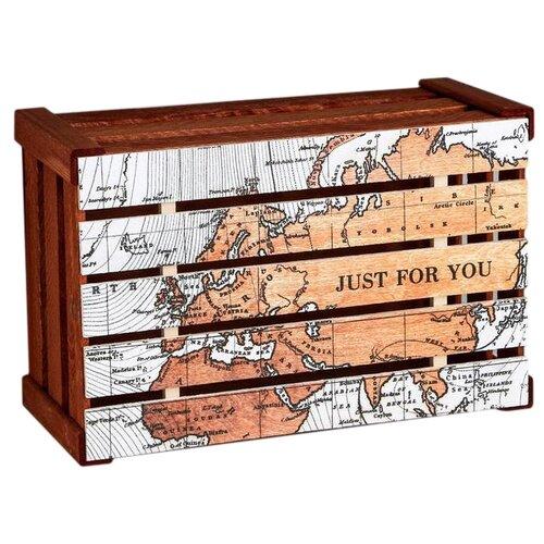 Коробка подарочная Дарите счастье Карта 33 х 15 х 21 см оранжевый недорого