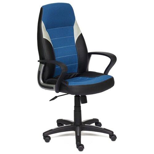 Компьютерное кресло TetChair Интер, обивка: текстиль/искусственная кожа, цвет: черный/синий/серый компьютерное кресло tetchair барон обивка искусственная кожа цвет бежевый
