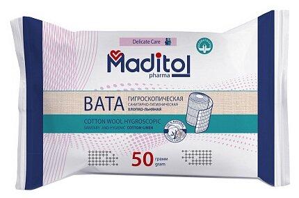 Maditol вата гигроскопическая санитарно-гигиеническая хлопко-льняная