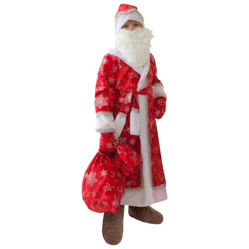 Купить Костюм пуговка Дед Мороз (920 к-17), красный, размер 134, Карнавальные костюмы