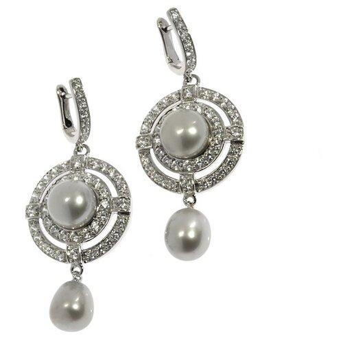 JV Серебряные серьги с жемчугом, кубическим цирконием PS071012E-JE1-SR-WS-WG