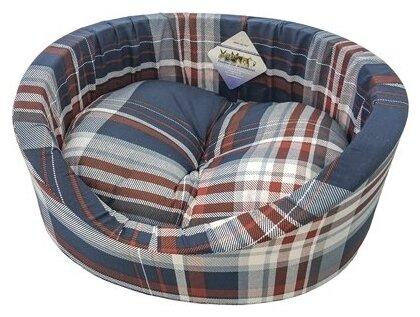 Лежак для собак Бобровый Дворик с бортиком Шотландка синяя №4 64х49х20 см