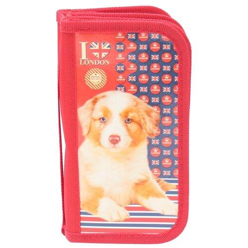 Купить Prof-Press Пенал Британский щенок (ПН-5872) красный, Пеналы