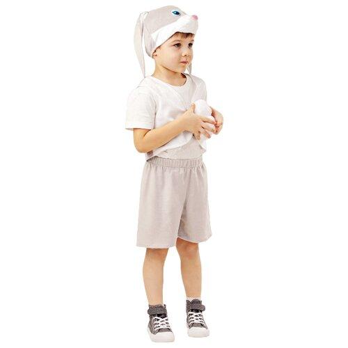 Купить Костюм пуговка Заяц серый Прошка (4006 к-18), серый/белый, размер 98, Карнавальные костюмы
