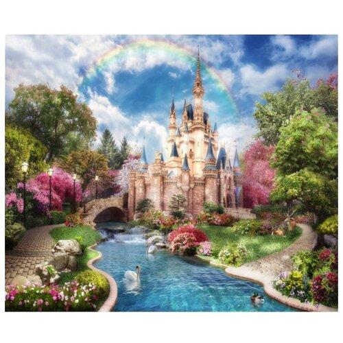 цена на Фотообои флизелиновые детские Design Studio 3D Замок принцессы 3х2.5м голубой/бежевый/зеленый