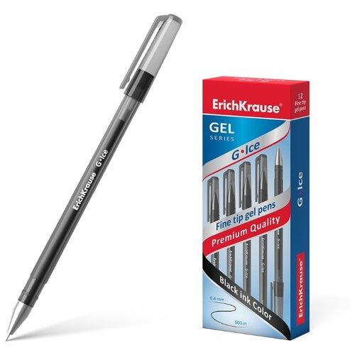 Купить ErichKrause набор гелевых ручек G-Ice 0.4 мм 12 шт (39004), черный цвет чернил, Ручки