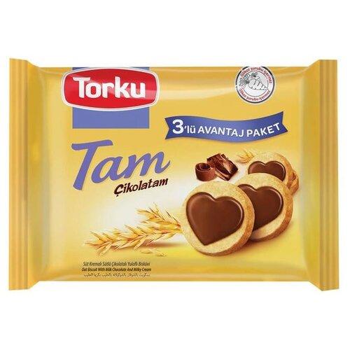 Печенье Torku Tam Cikolatam овсяное с молочным кремом и молочным шоколадом, 249 г фото