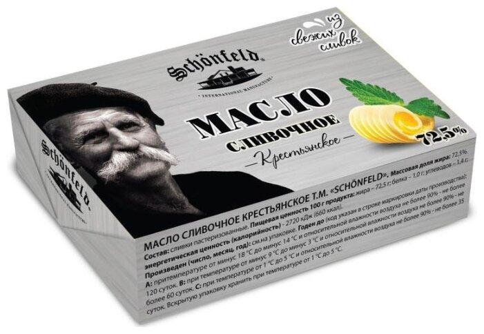 Schonfeld Масло сливочное Крестьянское 72.5%, 180 г