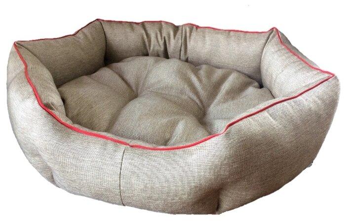 Лежак для собак ЗверьПостель Линия Эко 85х75 см 85х75 см бежевый/красный кант