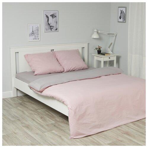 цена на Постельное белье 2-спальное с евро простыней Василиса Глянец 387 поплин розовый / серый