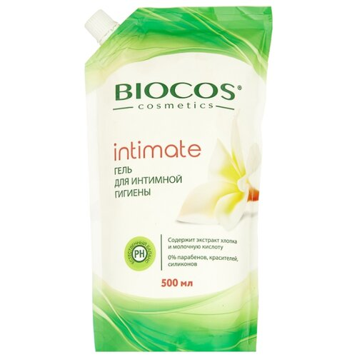 BioCos Гель для интимной гигиены с экстрактом хлопка и молочной кислотой, 500мл