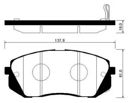 Дисковые тормозные колодки передние HONG SUNG BRAKE HP2015 для Chevrolet Epica, Hyundai ix35, Kia Carens, Kia Sportage (4 шт.)
