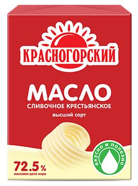 Красногорский Масло сливочное крестьянское 72.5%, 185 г