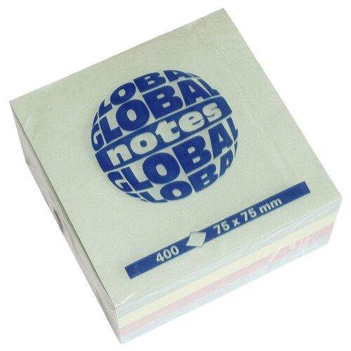Global Notes блок-кубик с липким слоем 75х75 мм, 400 листов (382098/382001) зеленый/желтый/розовый/голубой
