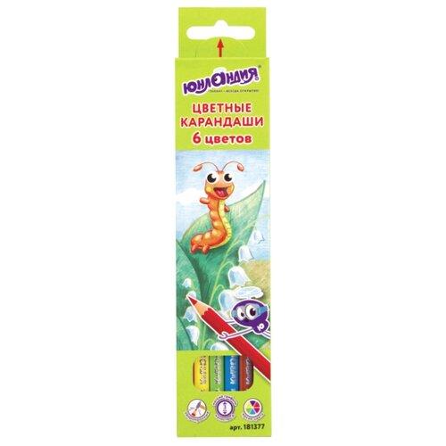 Купить Юнландия Карандаши цветные В гостях у букашек 6 цветов (181377), Цветные карандаши