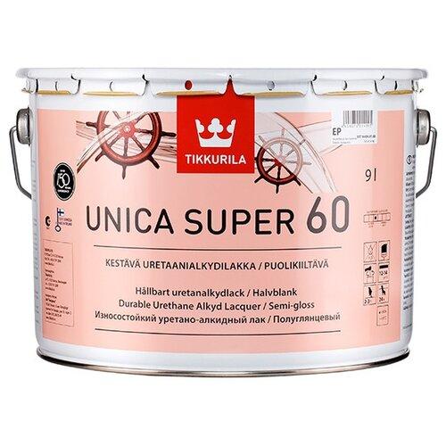 Лак яхтный Tikkurila Unica Super 60 алкидно-уретановый бесцветный 9 л лак tikkurila kiva 30 полиакриловый бесцветный 0 9 л