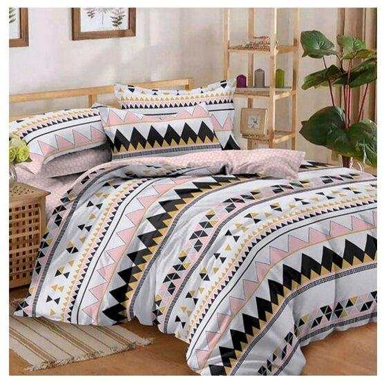 Постельное белье 1.5-спальное ЛайМ Кенди, поплин розовый/черный/желтый