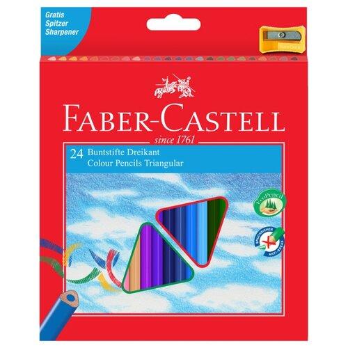 Купить Faber-Castell Карандаши цветные трехгранные c точилкой 24 цвета (120524), Цветные карандаши
