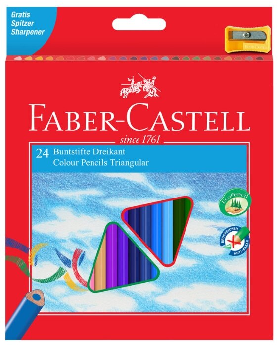 Faber-Castell Карандаши цветные трехгранные c точилкой 24 цвета (120524)