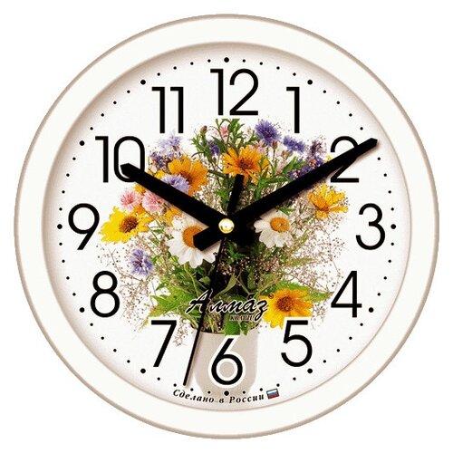 Часы настенные кварцевые Алмаз E58 белый часы настенные кварцевые алмаз e66 серый
