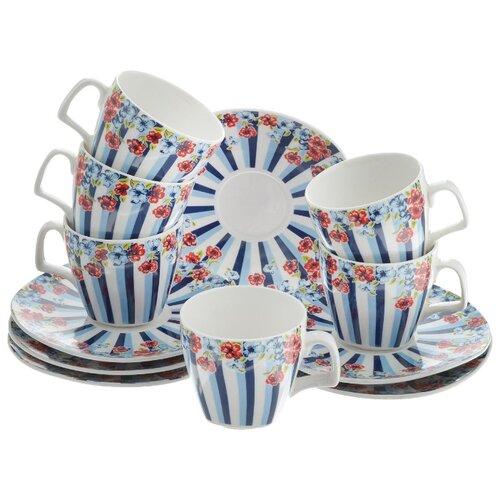 Кофейный сервиз Loraine Цветок, 6 персон белый/синий/красный по цене 1 088