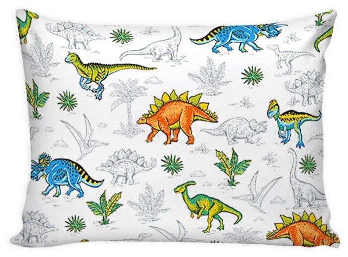 Комплект наволочек Сказка Динозавры на молнии, перкаль 50 х 70 см