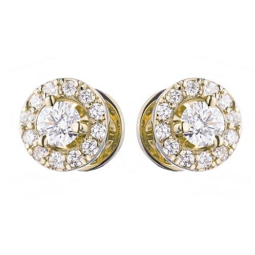 ЭПЛ Якутские Бриллианты Пусеты из желтого золота с бриллиантами п03с031502-0. 409