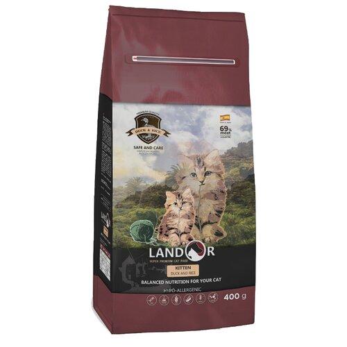 Сухой корм для кошек Landor для здоровья кожи и блеска шерсти, с уткой, с тунцом 400 г
