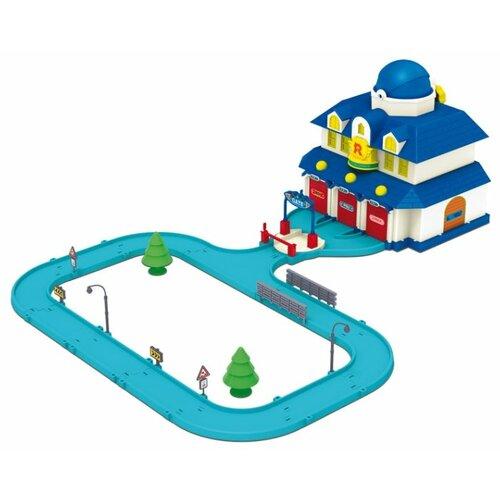 Купить Silverlit Игровой набор Robocar Poli Штаб-квартира с вертолетом Хелли 83156 голубой/белый, Детские парковки и гаражи