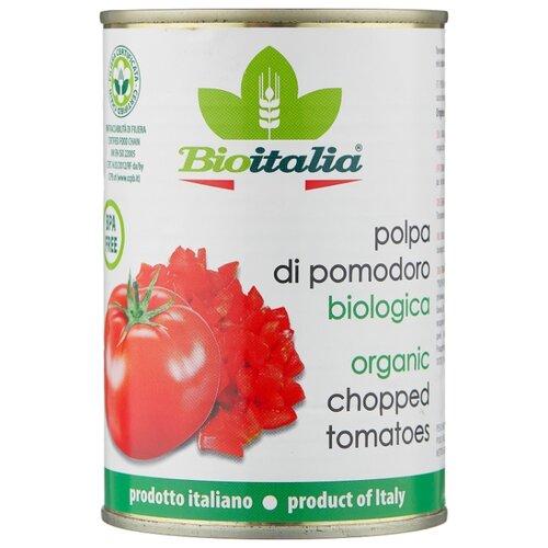 Томаты очищенные резаные в томатном соке Bioitalia жестяная банка 400 г