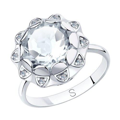 SOKOLOV Кольцо из серебра с горным хрусталем и фианитами 92011849, размер 17 фото