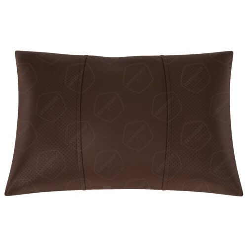 Автомобильная подушка, поясничный подпор Экокожа. Середина: шоколад гладкая экокожа. Боковины: шоколад экокожа с перфорацией.