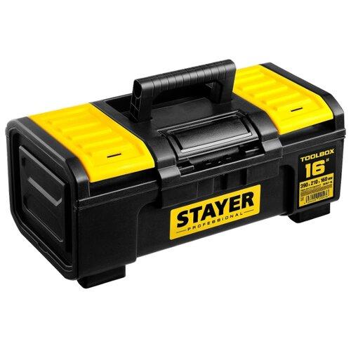 Ящик с органайзером STAYER Professional 38167-16 39x21x16 см 16'' черный/желтый ящик с органайзером stanley jumbo 1 92 908 31 4x56 2x30 см желтый черный