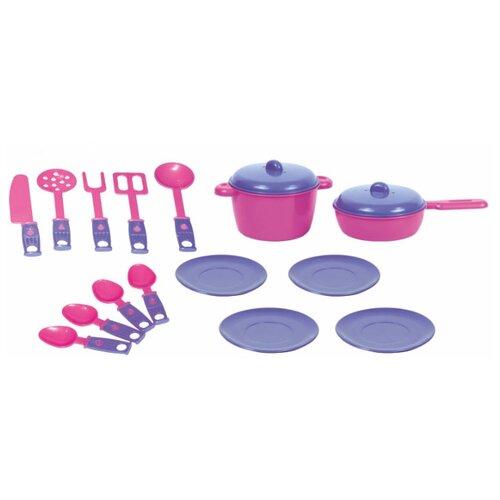 Купить Набор посуды ZEBRATOYS Обед 15-10037-5 розовый/фиолетовый, Игрушечная еда и посуда