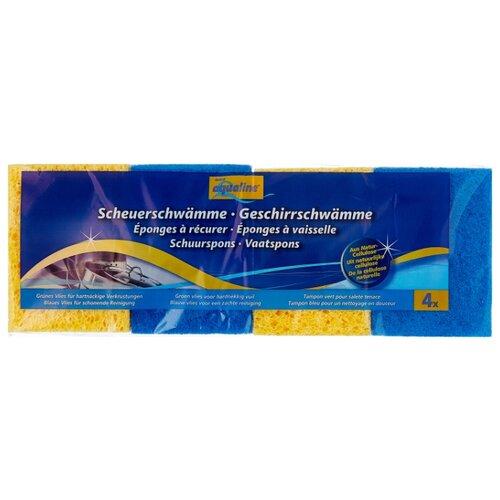 Губка для мытья посуды aQualine из натуральной целлюлозы 4 шт. губка tetex из целлюлозы желтый белый
