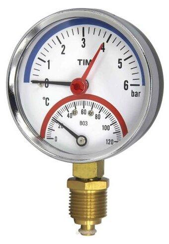 Термоманометр радиальный 6 бар TIM Y-80-6bar