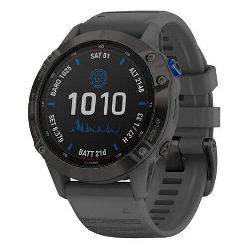 Умные часы Garmin Fenix 6 Pro Solar, черный/серый умные часы garmin fenix 6x pro solar титановый с титановым браслетом серый